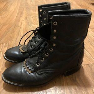 Vintage Laredo Black Kiltie Lace Up Boots Size 9